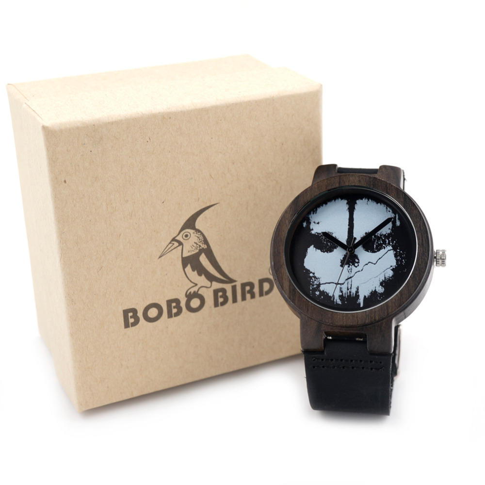 BOBO BIRD Natural Ebony Sandwood Wooden Men s Black Round Punk Skull Genuine Leather Watches Luxuly