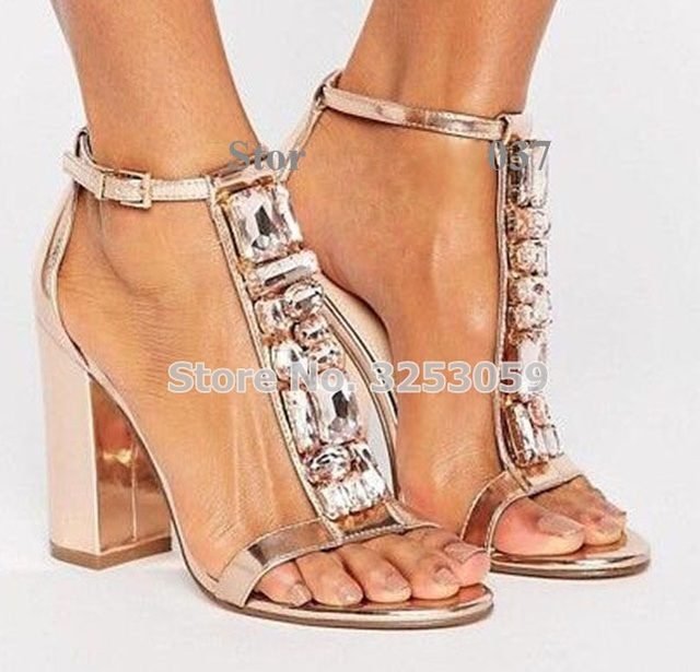 733c701d9e4a ALMUDENA Rose Gold Patent Leather Beaded Sandals Chunky Heels T-bar Strap  Shining Jewelry Wedding Shoes Rose Gold Heels Pumps