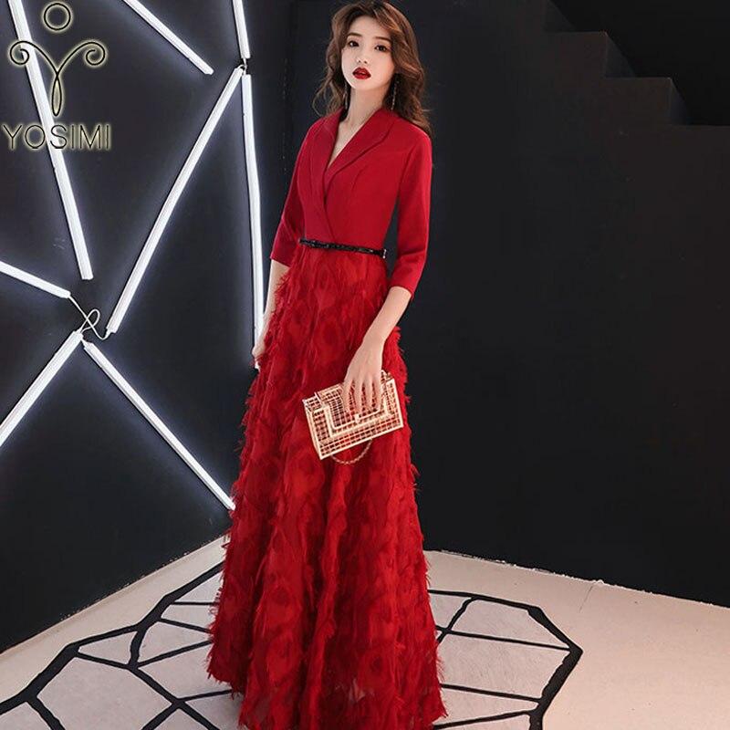 YOSIMI 2019 robe de soirée d'été demi manches élégant a-ligne Maxi Long Slim femmes robes broderie bureau dame robes