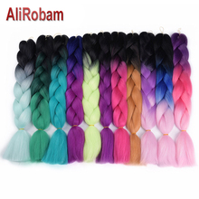 AliRobam 24Ombre Jumbo Braiding Hair Synthetic Braid Extensions 100G Bulk Box