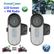 FreedConn 2PCS LCD Screen FM Function 3Riders Hi-Fi Speaker Motorcycle Intercom BT Bluetooth Wireless Interphone Helmet Headset