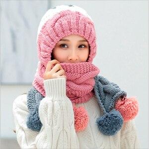 Image 2 - 2018 새로운 겨울 모자 소녀 귀여운 따뜻한 세트 크로 셰 뜨개질 모자 니트 모자 스카프 pompon beanies 목도리 솔리드 위브 플러스 벨벳 모자를 쓰고 있죠