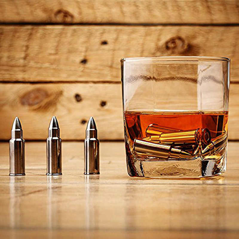 Mealivos Stainless steel Bullet ice cubes ice stone Cool Glacier Rock Neat Drink Freezer gel Wine Whiskey Stones Great Gift