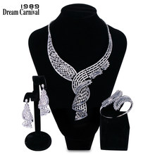 DreamCarnival 1989 Gorgeous Jewelry Bijoux White Cubic Zirconia AAA Quality Wedding Bride 3 pieces Set for Women Marriage B16609(China)