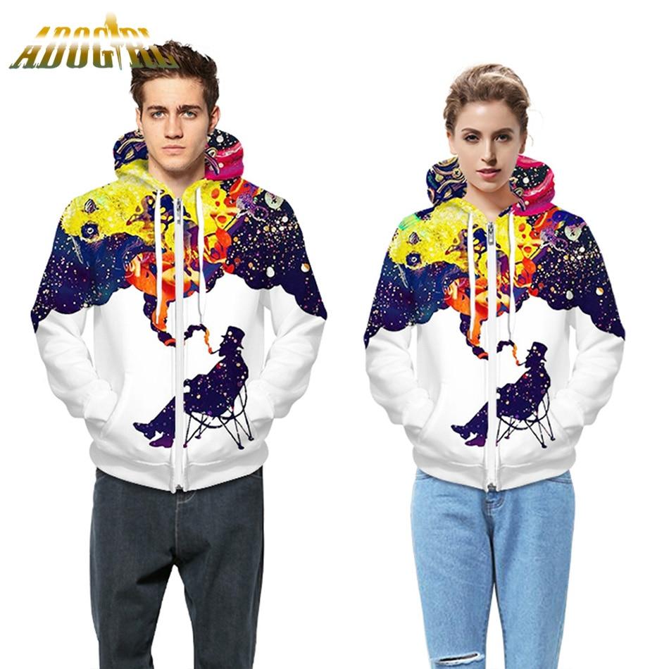 Adogirl Fall And Winter Women Men Hooded Sweatshirts Print White Oversized Hoodie Male Zipper Hip Hop Coat Velvet Tracksuit