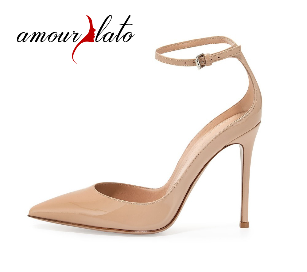 Amourplato Women's 100mm High Heel Pointed Toe Ankle Strap Pumps Ladies Patent Low Collar Cut Out Party Wedding Dress Shoes 2015 temperament high heel women pumps rhinestone ankle strap pointed toe ladies wedding shoes