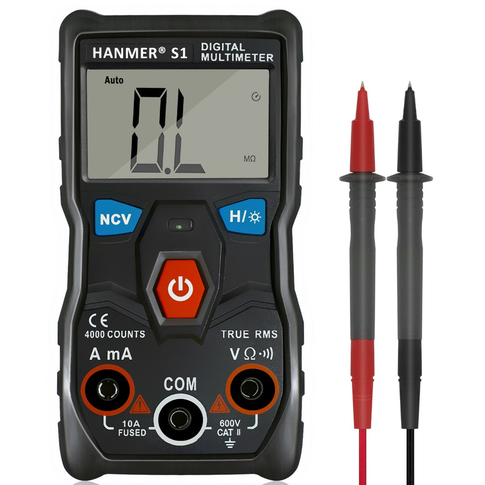 Digital-Multimeter HANMER S1 True RMS Auto Range Professionelle LCD automatische Smart Multimeter AC/DC Spannung Amperemeter NCV Tester