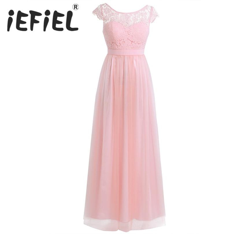 iEFiEL Elegant Sleeveless Bridesmaid Women Ladies Dresses Long Chiffon Wedding Party Formal Tulle Ball Gowns Floor Length Dress
