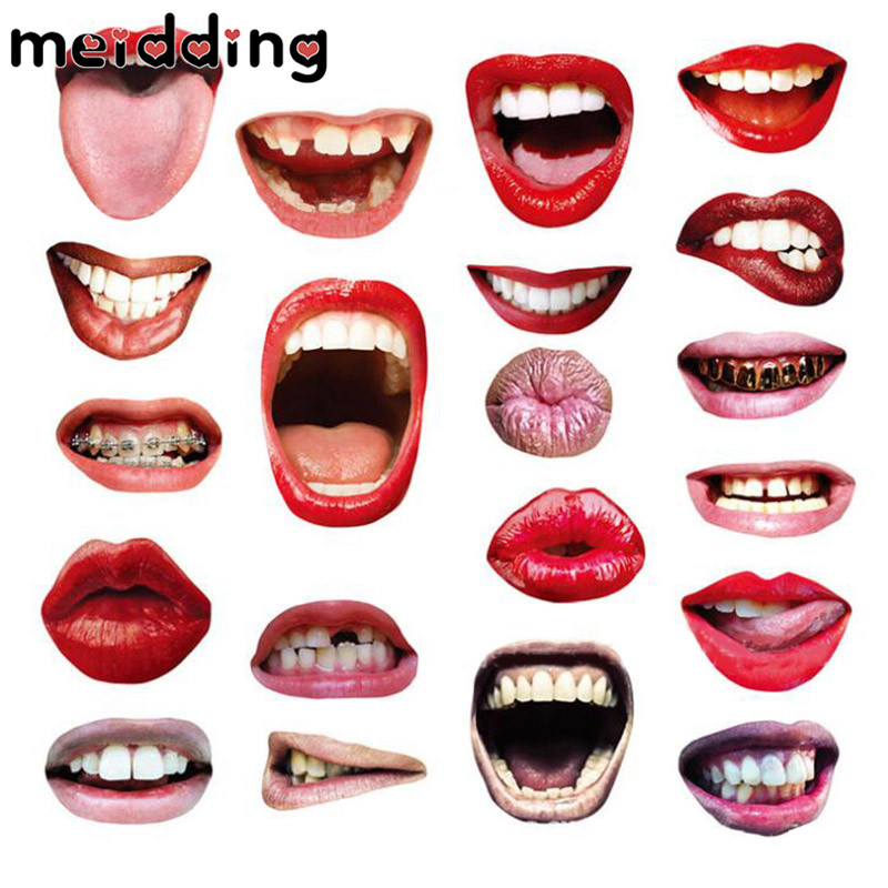 MEIDDING 20Pcs Various Lips Shape Spoof Prank Hen Night Photo Booth Props Funny Birthday ...