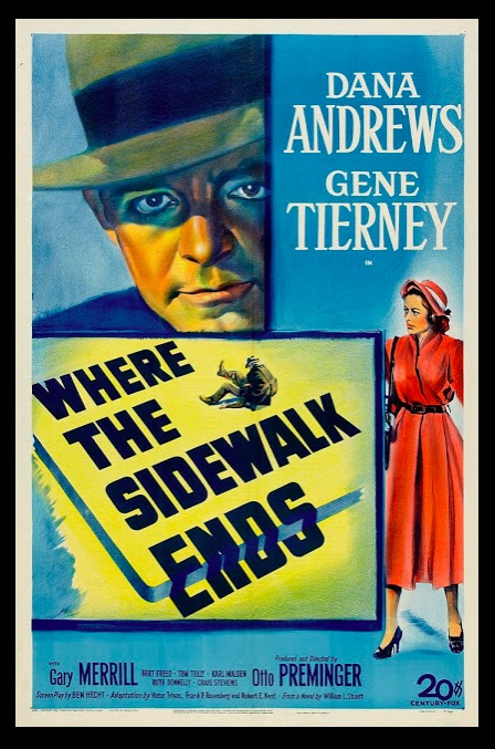 Where the Sidewalk Ends Classic Movie Film Noir Retro Vintage Poster Canvas Painting DIY Wall Paper Home Decor Gift image