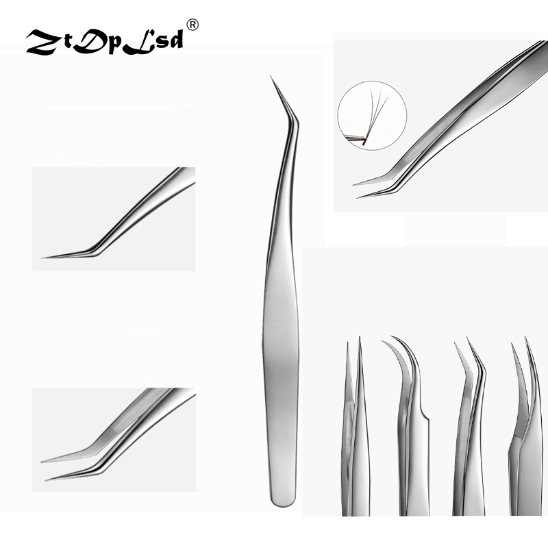 ZtDpLsd 1Pcs Hyperfine Curved Straight Tweezer Makeup Eyelash False Eyelashes Extension Eye Lashes Styling Tools Stainless