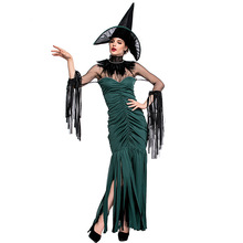 Umorden Green Strips Witch Costumes The Grand Sorceress Costume Halloween Purim Party Cosplay Fancy Dress