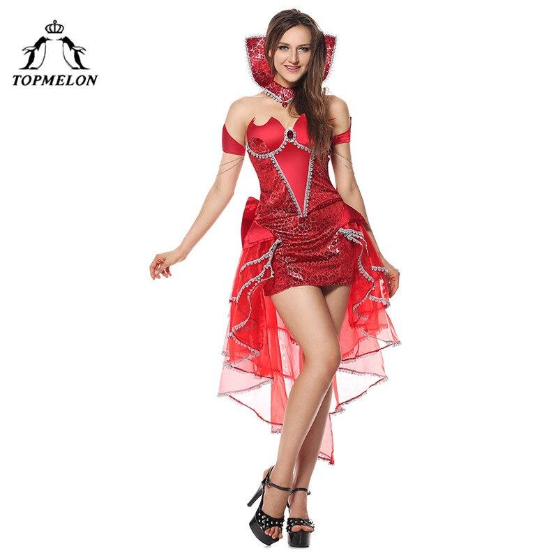 TOPMELON Evil Queen robe Costumes rouge haut bas découpé sans manches robes avec tour de cou Devia dentelle Floral vêtements pour Halloween