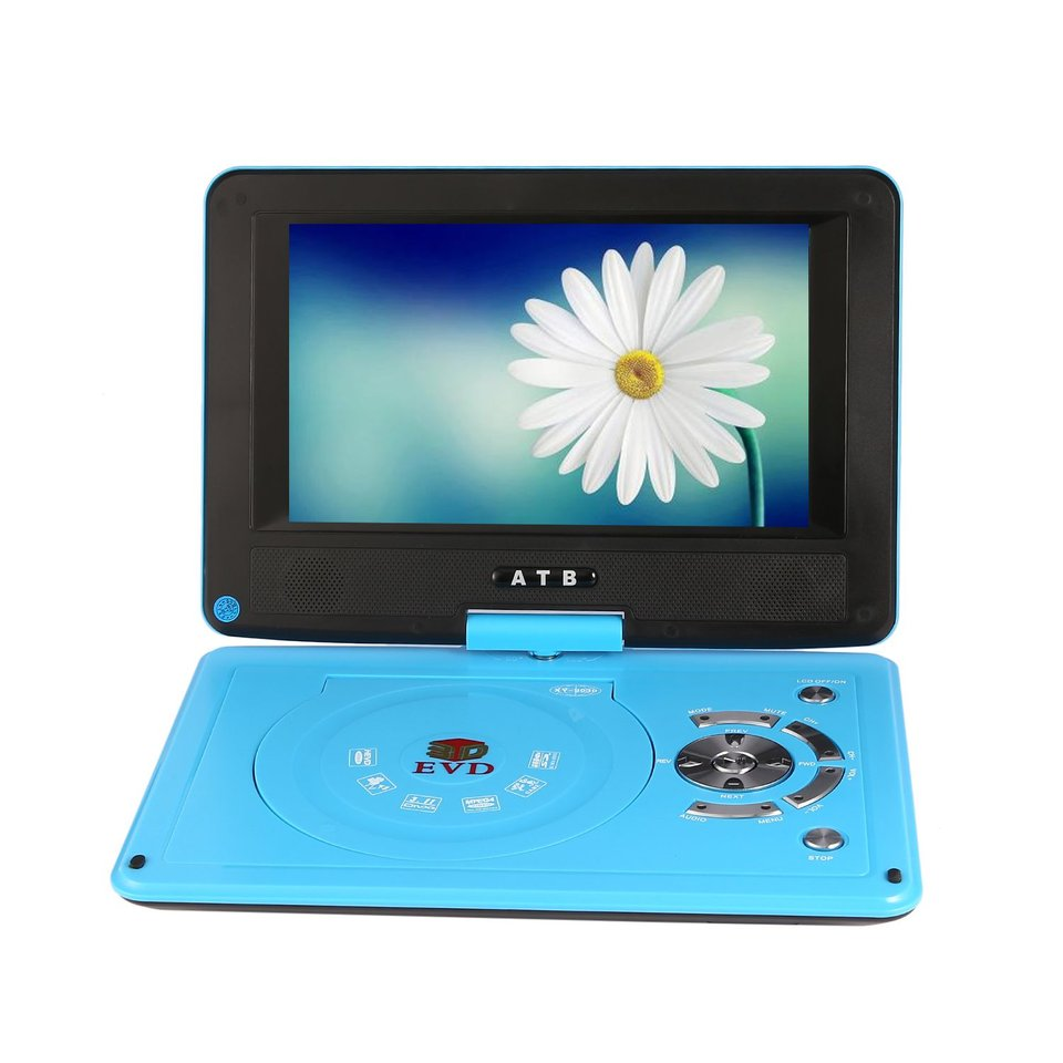 Car styling14 inch Portable DVD EVD Player HD LCD Display 270 Degree Rotation with TV Player Card Reader & USB Game 800*480 DPI