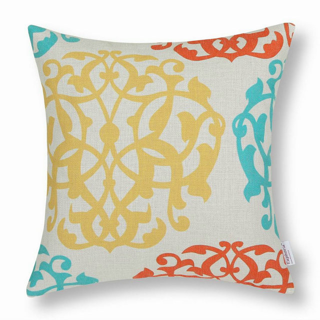 CaliTime Decorative Pillows Shell Cushion Covers Home Sofa Car Best Orange And Teal Decorative Pillows