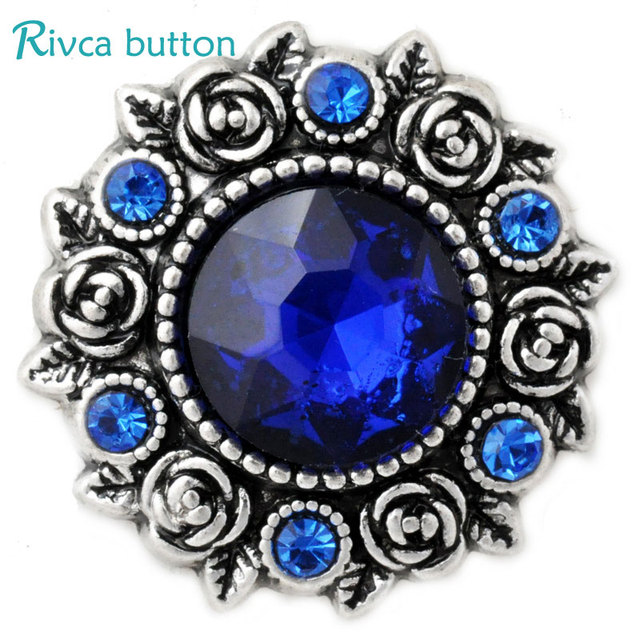 D02808 blue color Rose styles 18mm Metal Snap  Charm Rhinestone rivca Snap Jewelry Fashion BLUE Metal Snaps Women JEWELRY
