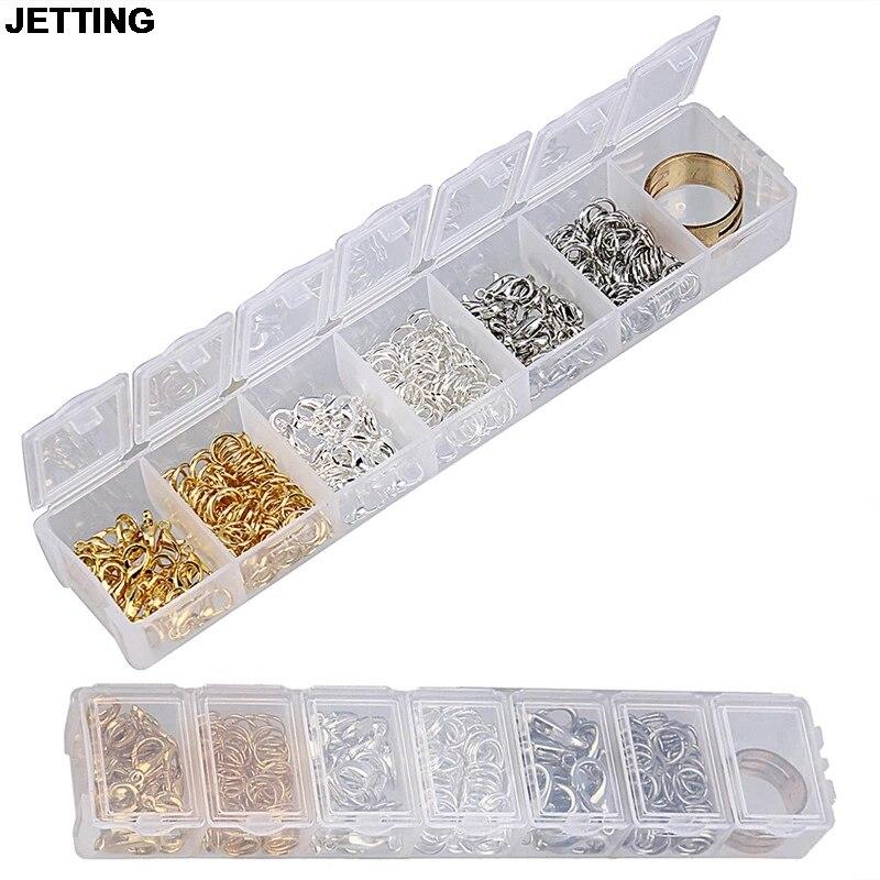 DIYARTS Kit de Suministros para Pendientes Kit de creaci/ón de Joyas con 15 Rejillas Caja de Almacenamiento Tarjetas para Pendientes Sobres autosellantes