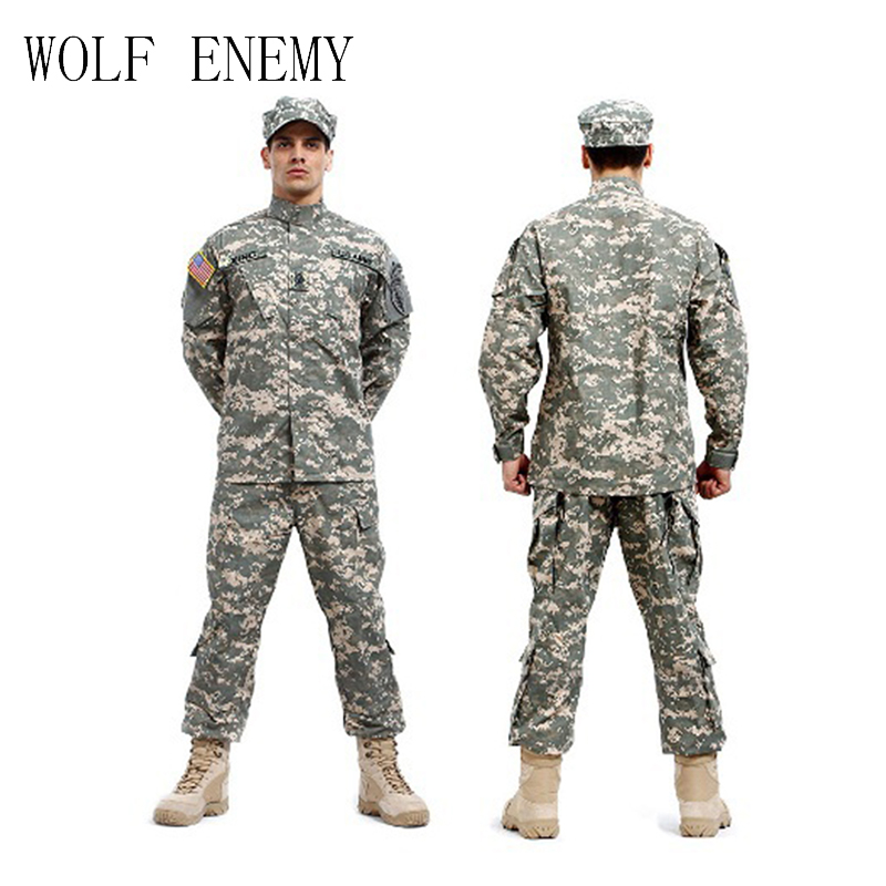 Tactical Army Military Cargo Pants and Shirt, Camouflage Waterproof Airsoft Painball BDU Uniform Combat US Men Clothing Set tactical g3 uniform hunting combat shirt cargo with pants knee pads camouflage bdu army military men clothing set acu fg black