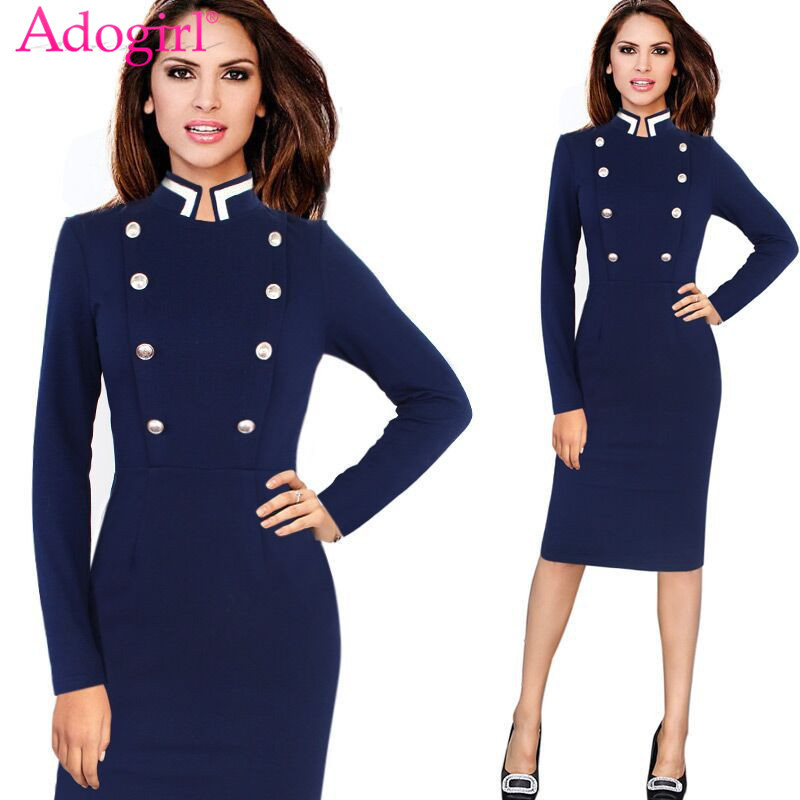 f4bc41d760e Adogirl 2018 Stylish Stand Collar Long Sleeve Ladies Office Dress Double  Breasted Vintage Pencil Midi Dress