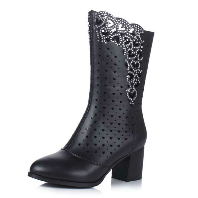 ФОТО 2017 Superstar Brand Shoes Cut Outs Flower Hollow Crystal Pointed Toe Diamond Plus Size Women Summer Boots High Heels Sandals 31