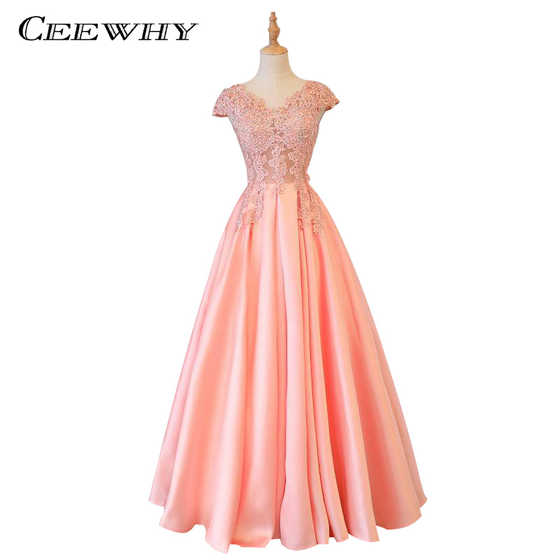 CEEWHY Embroidery Beading Satin Luxury Coral Evening Dress A Line Long Evening Gown Elegant Vestido De Festa Formal Prom Gowns