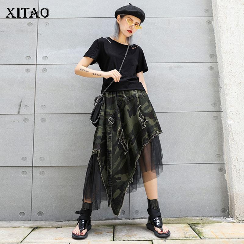 XITAO Pleated Leopard Lace Midi Skirt Women Irregular Print 2019 Pole Wild Joker Summer Punk Style Korea Fashion New  XJ1689