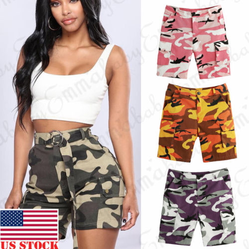 Summer Women Military Army Pocket   Shorts   Midi Waist Camouflage Camo Casual   Short   Trousers New Fashion Female Clothes