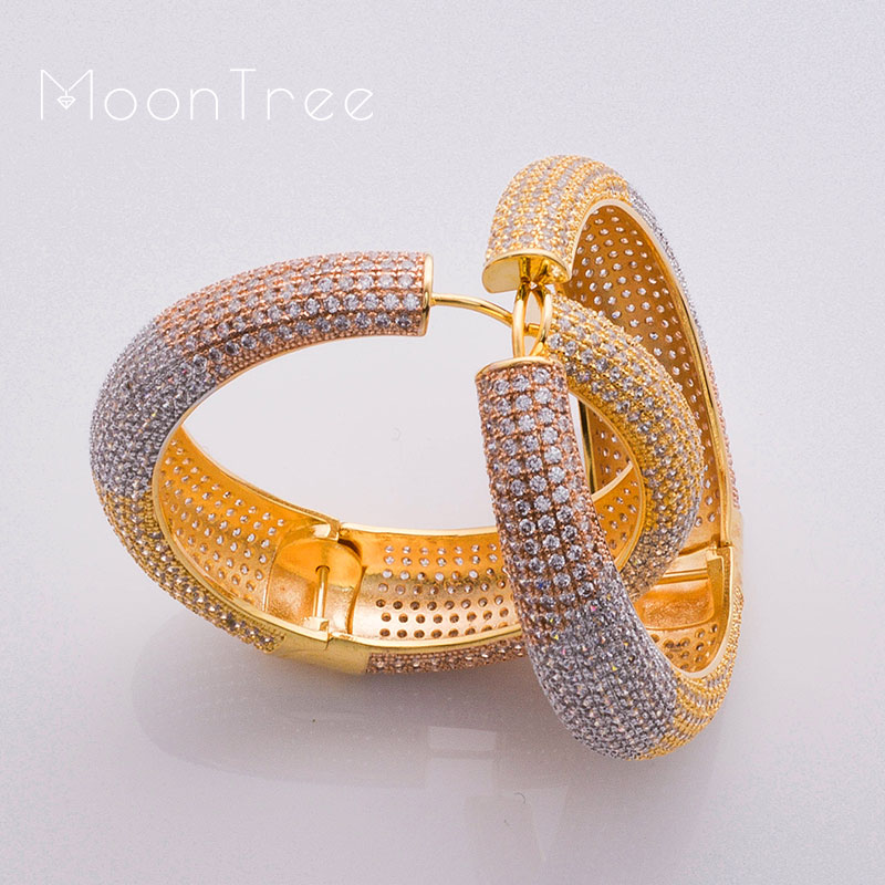 MoonTree 49mm Big Earrings For Women Three Tone Color Ear Drops Copper Material CZ Stone Micro Pave Setting Earring Jewelry baguetee cz red passion hoop earrings for women multi color stone earring fit wedding fashion rainbow big earing jewelry 2018