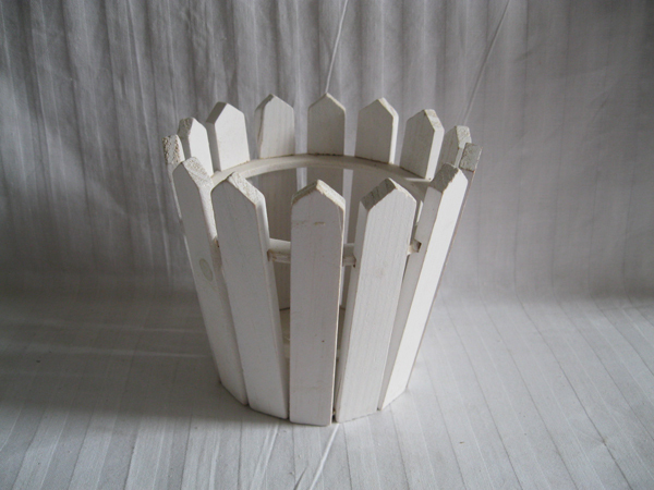 6pcs Lot D12 H11 5cm Planter Wood Mini Round Wooden Fence Small White Planters Sf 086