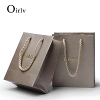 Oirlv 12 Pieces Brown Bronze Coated Paper Jewelry Bag Gift Pouch With Hemp Rope For Shopping