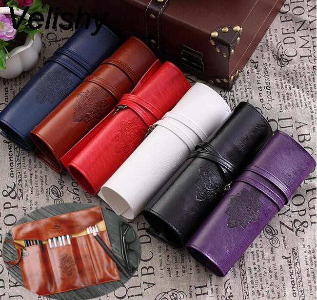 1pc Velishy Women Vintage Roll Leather Purse Makeup Cosmetic Pen Pencil Brush Bag Case Pouch retro stripe pencil pen case cosmetic pouch pocket brush holder makeup bags life style pencil bag pen box