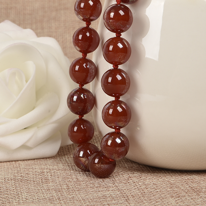 Red carnelian Beads Necklace 10mm beads hand knotted 18 inch long Fashion Necklace