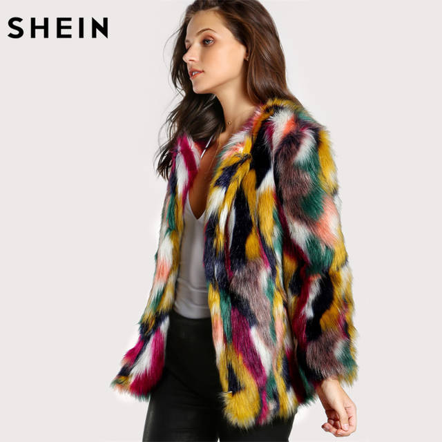 3626d64f5 Detail Feedback Questions about SHEIN Women Elegant Fur Coats Colorful Faux  Fur Coat Multicolor Long Sleeve Collarless Casual Woman Winter Fur Coats on  ...