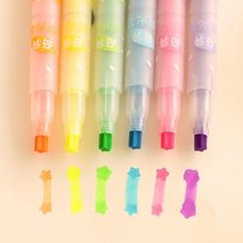 South Korea stationery creative Highlighter Star pattern fluorescent pen Watercolors marker pen 6 colors
