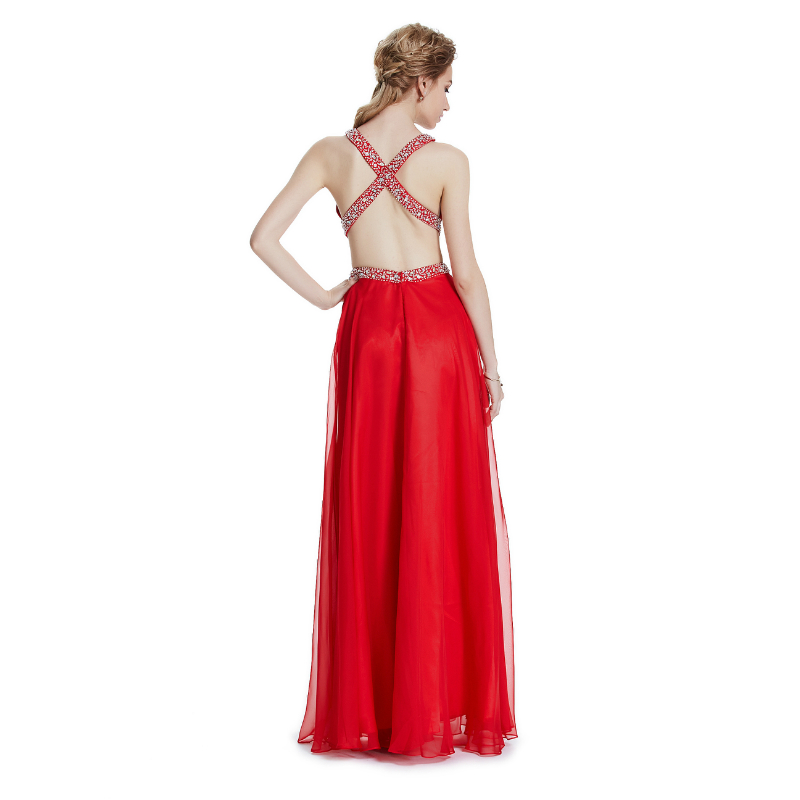 W.JOLI 2017 Sexy Red Long Evening Dress Cytal Beading Bride Bankett - Spesielle anledninger kjoler - Bilde 2
