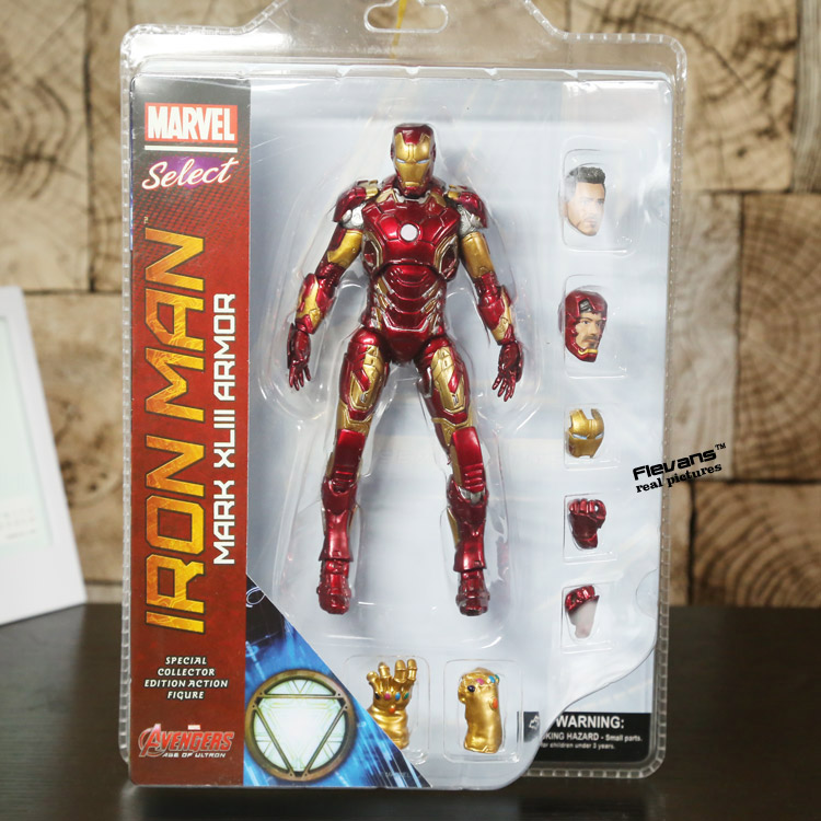 SAINTGI Marvel Avengers Assemble Iron Man Doll Mark 43 Infinity Gauntlet Super Heroes 19CM PVC Action Figure Collection Model marz ron infinity gauntlet aftermath