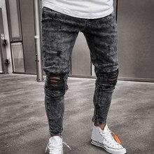 Feitong, хлопковые джинсы для мужчин, весна, Мужская одежда, джинсовые штаны, потертые, свободные, облегающие, повседневные брюки, стрейчевые, рваные джинсы
