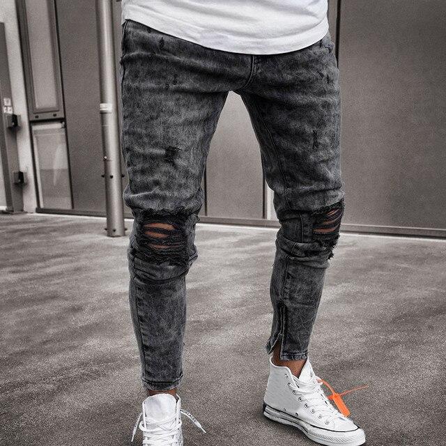 Feitong כותנה ג 'ינס גברים אביב 2019 MenClothes ינס מכנסיים במצוקה Freyed Slim Fit מקרית מכנסיים למתוח Ripped ג' ינס