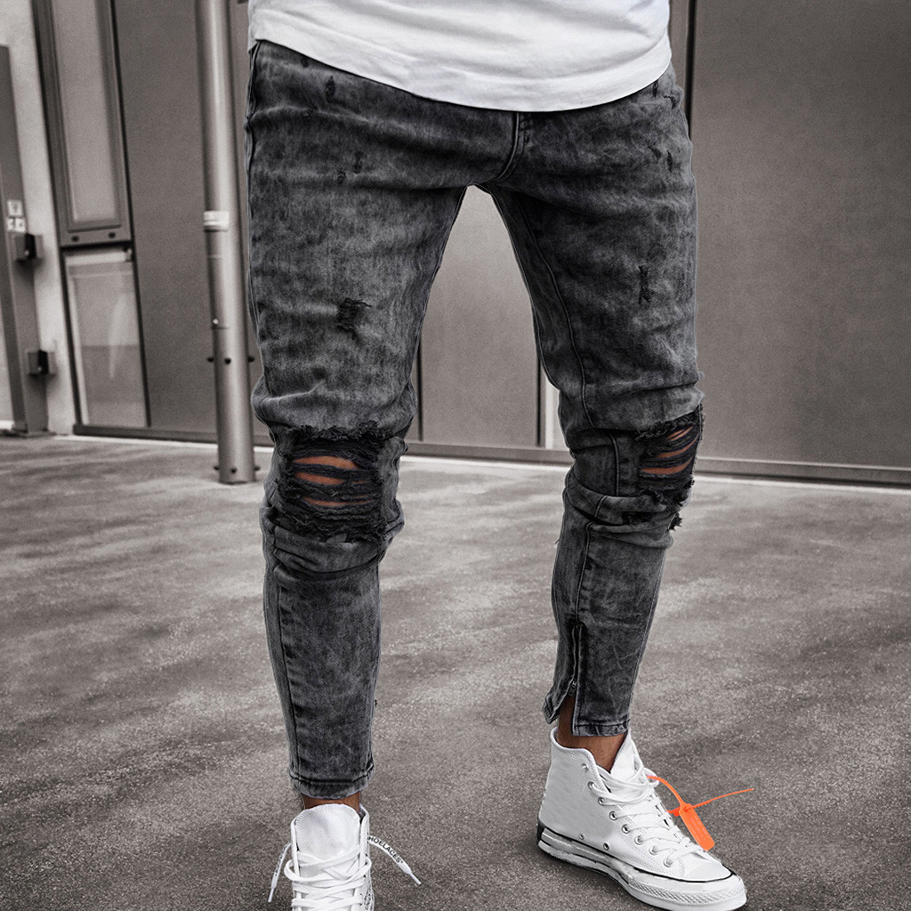 feitong Cotton   Jeans   Men Spring 2019 MenClothes Denim Pants Distressed Freyed Slim Fit Casual Trousers Stretch Ripped   Jeans