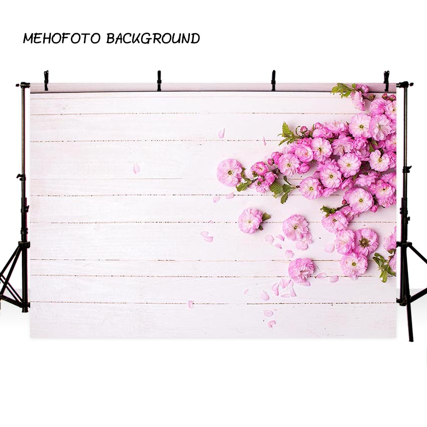 MEHOFOTO Vinyl Photography Background Pink flower Vivid Wood Floor Birthday Children Fotografia Backgrounds for Photo Studio kate 5x7ft light brown color newborn photography 1st birthday backdrops wood floor baby photo props background studio fotografia