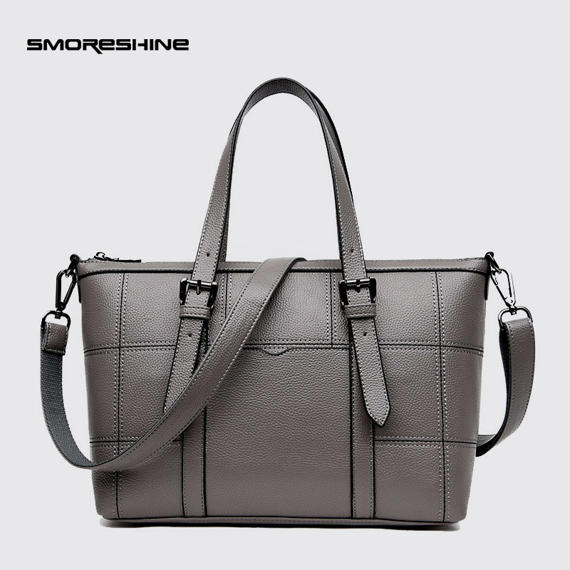 SMORESHINE High grade PU leather women large shoulder bag female Plaid design Messenger bags Casual women's handbags tote 2017 fashion all match retro split leather women bag top grade small shoulder bags multilayer mini chain women messenger bags