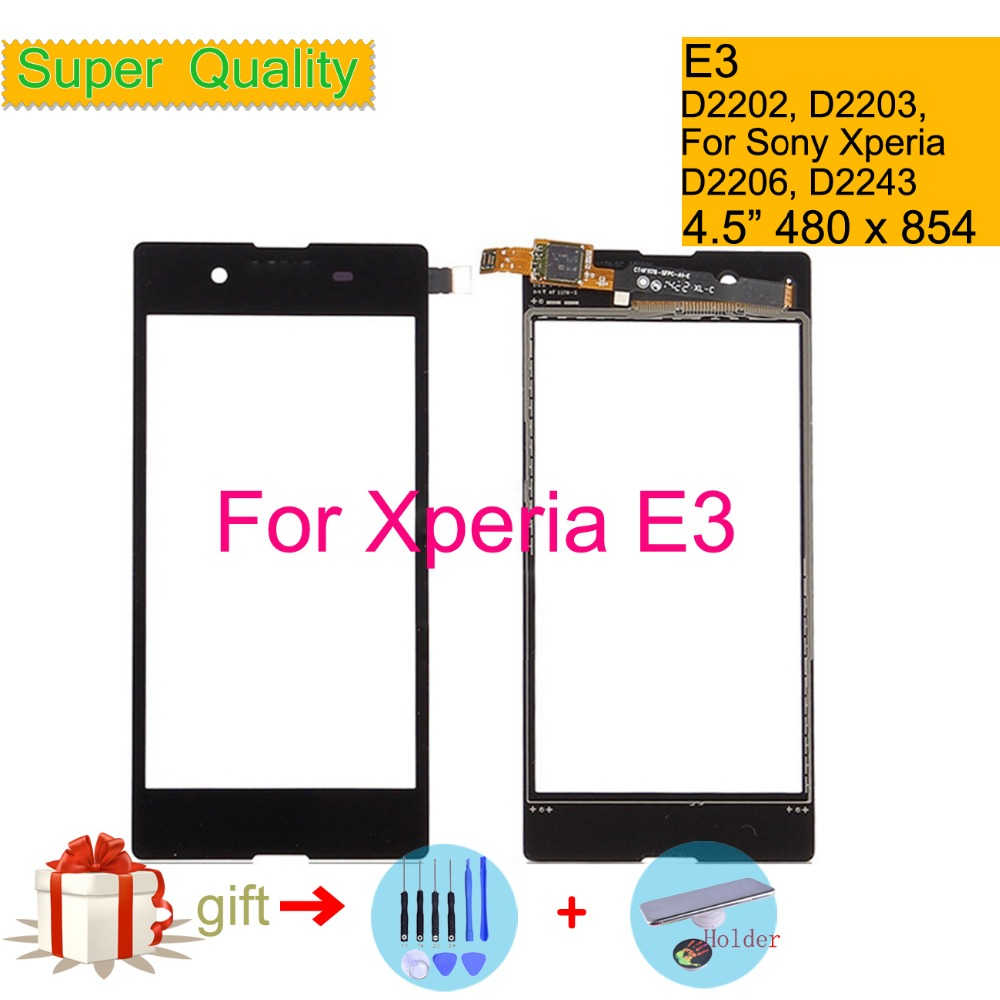 Touchscreen For Sony Xperia E3 D2202 D2203 D2206 D2243 Touch Screen Digitizer Front Glass Panel Sensor Lens DUAL D2212 NO LCD