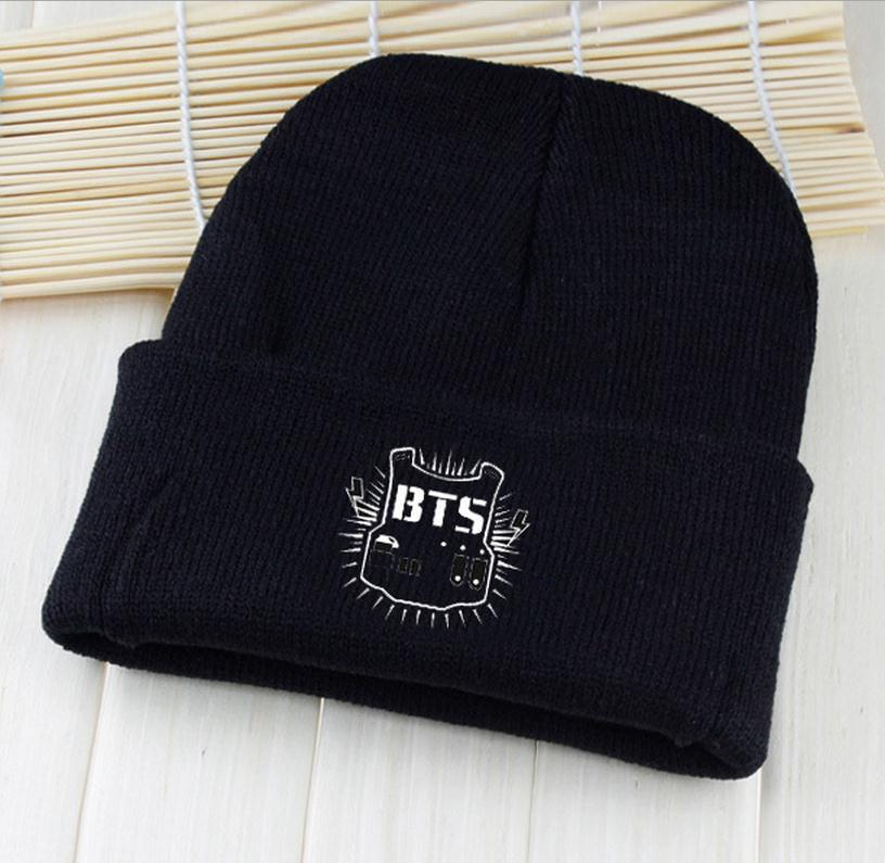 kpop BTS Shield hats wool cap Bangtan Boys youth with paragraph Harajuku Korean wool cap Couple bts   Skullies     Beanies   Hedging hat