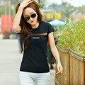 Лето горячих женщин топы письмо вышивка футболки с коротким рукавом выдалбливают футболка удобные студенток футболки cs80