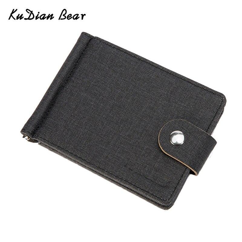 KUDIAN BEAR Linen Men Money Clip Metal Vintage Brand Wallet Purses Designer i clip Minimalist Carteras Hombre --BID143 PM49