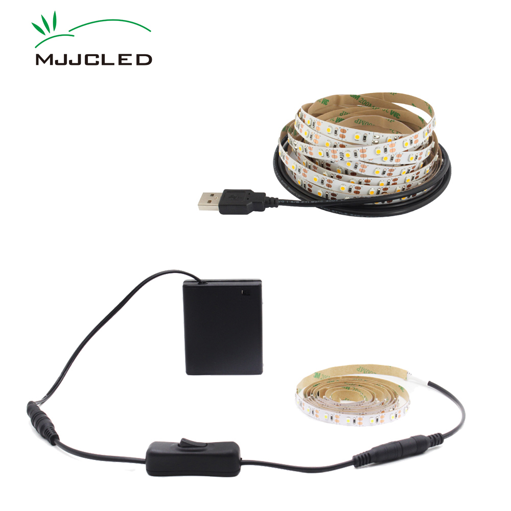 LED Tape Battery Operated 50CM  LED Light Strip Battery Powered 1M 2M 3M USB LED Strip Light Adhesive SMD3528 Stripe Waterproof