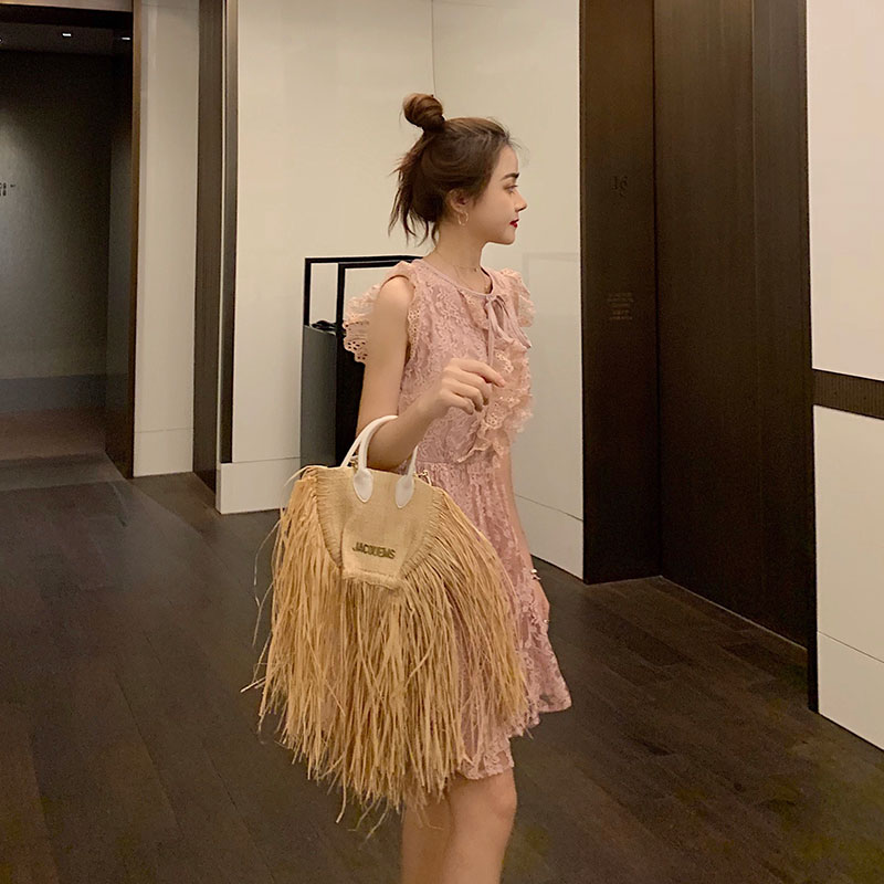 Image 3 - fashion tassel straw bags rattan weave women handbags designer luxury handmade paper shoulder crossbody bags summer beach purses-in Shoulder Bags from Luggage & Bags