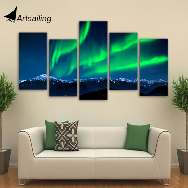 Hd printed 5 piece canvas art green aurora painting large framed landscape wall pictures for living