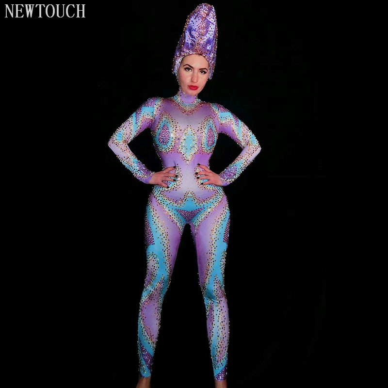 Dj Color Rhinestone Tight Clothes Loaded Full Diamond Stretch Long Sleeve Adult Stage Costume Jumpsuit Stage Equipment Singer