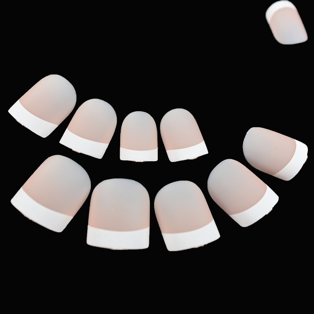 Classical Matte Nude French Nails White Natural Short Square Designed Fake Nails Ladies Daily Wear Nails